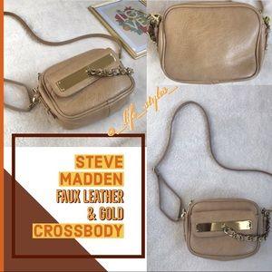 Steve Madden Tan & Gold Cross Body Bag